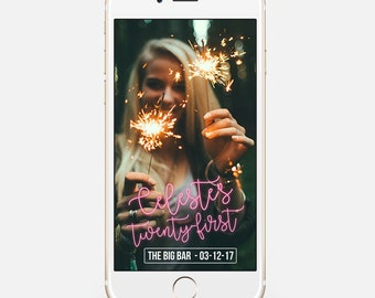 LIMITED TIME! Birthday Snapchat Geofilter, Party Snapchat Filter, On Demand Geofilter, Snapchat Geofilter - Neon Design bir5