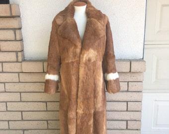 Vintage Long Rabbit Fur Coat w/White Wrists Furs by Hershleder, Ltd. Size Medium