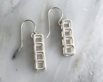 Sterling Silver 4 Cube Dangly Earring, Minimalist Dangly Earring, Dangly Earring, Sterling Silver Cube Dangly Earrings, 4 Cube Danglies