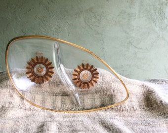 Vintage Georges Briard Divided Glass Ashtray