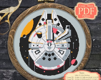 Cross stitch PDF pattern - Millenium Falcon - Star Wars - modern embroidery