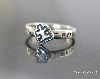 Puzzle piece ring, Puzzle ring, Autism Awareness, IT ALL FITS ring, Puzzle jewelry, Great gift, Sterling silver ring, Puzzle piece jewelry