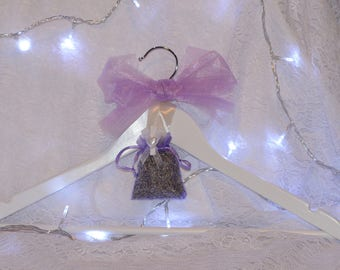 White Wooden Coat Hanger with Five Lavender Sachets