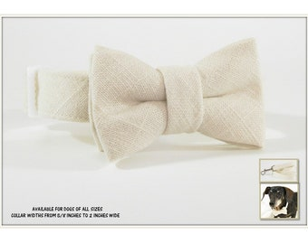 Ivory Linen Dog Bow Tie~Ivory Linen Dog Bow Tie Collar~Wedding Dog Collar~Wedding Dog Attire~Linen Bow Tie~Optional Matching Linen Leash~