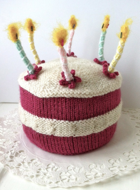 Birthday Cake With Lit Candles Knitting Pattern From Knittingrev On