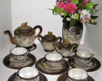 1940s 22 Piece Embossed Moriage 3-D Dragon Tea Set Made In Japan with 24kt accents - Tea Pot,Creamer,Sugar,Cups,Saucers,Dessert Plates,Vase