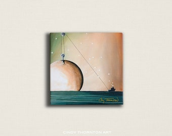 8x8 Signed Canvas Print - A Solar System - a star puffing tugboat lifting the moon - by Cindy Thornton