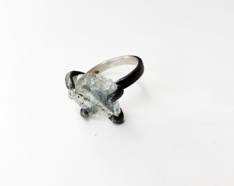 Raw Faden quartz sterling Silver ring size 8.5