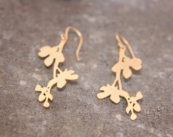 Gold Leaf Branch Earrings, Matte Gold Plated Brass Branches, Nature Earrings, Woodland Earrings, Ready to Ship