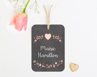 Berry Floral Chalkboard Luggage Tag Place Card