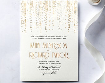 Dazzling Dotted Foil Stamped Wedding Invitation - IWF16080-KI-MG
