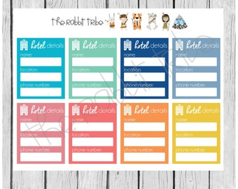 Get Organised! hotel details, travelling, accommodation - planner stickers