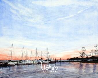 Sailboats at Sunset Watercolor Marina Nautical print-  8 x 10