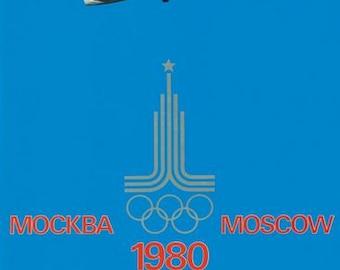 Vintage Aeroflot 1980 Moscow Olympics Poster  A3 Print