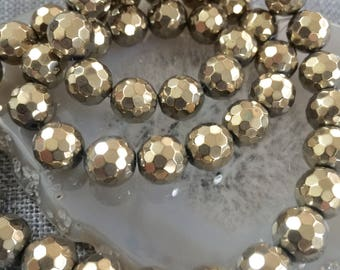 Strand Gold faceted round hematite Stone10mm-round Bronze hematite-faceted hematite stone 10mm-Jewelry findings-Beading jewelry supplies