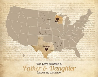 Father Dad Gift, Long Distance Map, Daughter, Daddy, Family Quotes, Lyrics Map, Custom Rustic Art, Fathers Day, Father's Gift Ideas, Grandpa