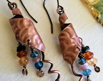 Spiral Gemstone Earrings, hessonite garnet, London blue topaz, champagne moonstone
