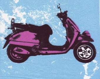 Application textile : Scooter Style Pop'Art 18 x 22 cm à coudre ou à coller