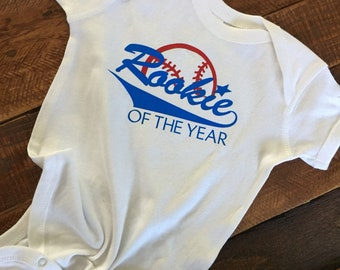 Custom Rookie of the Year baby onesie with name on back, baby baseball onesie, adorable customizable personalized baseball onesie.