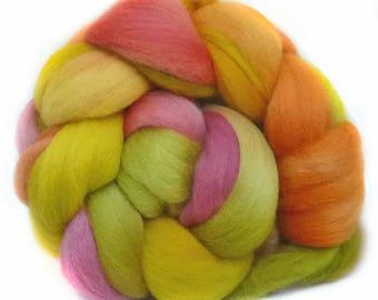 CORRIEDALE roving top handdyed wool spinning fiber 3.4 oz