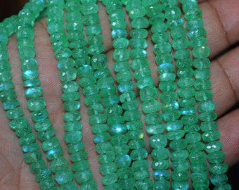Finest Quality Natural Green Mystic Rainbow moonstone Roundel Faceted 5.5-6 mm , 8inch strand