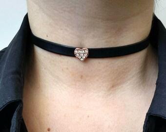 Heart Choker Necklace, Black Choker, Heart Necklace, Black Leather Necklace, Gold Heart Choker, Black Leather Choker, Heart Charm Necklace