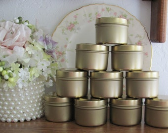 Party Favor Tins, Gold Candy Tins, Party Favor Supplies, Gold Favor Tins, DIY Candy Tins, Craft Tins, Candle Tins