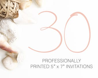 30 Professionally Printed Invitations White Envelopes Included And Free US Shipping, Printed Invitations