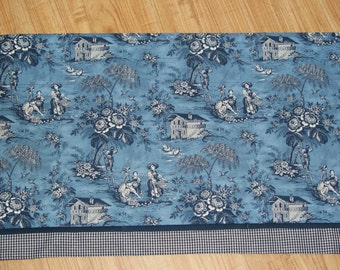 """Scenic Blue White Toile Valance 17"""" x 81""""  Can Alter Curtain Window Treatment"""