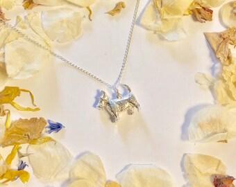 Scottie dog sterling silver snake chain necklace