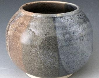 Small Stoneware Vessel. Sand & Sky. Tan. Taupe. Khaki. Blue-Gray. Stonewashed Denim. Neutral. Vessel. Container. Weed Pot. Jar. Minimalist