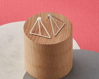 Solid silver geometric triangle earrings