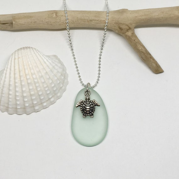 sea glass jewelry, sea turtle beach necklace