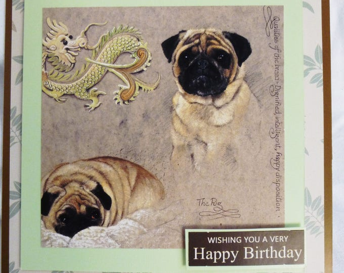 Pugs Birthday Card, Greeting Card, Dog Lovers Card, Animal Card, Dog Card, Male or Female, Any Age