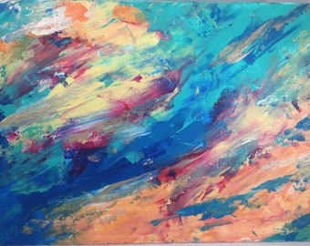 """Abstract Acrylic Painting """"A Touch of Gold"""""""