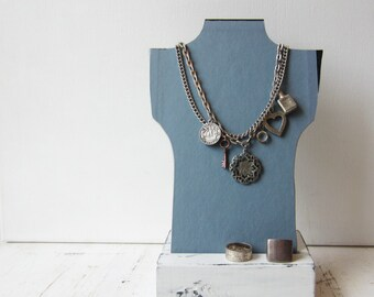One Petite Necklace Bust Reversible - Light Blue / Dark Blue with Red Logo  - Recycled Book Necklace Jewelry Display - Quantities Available