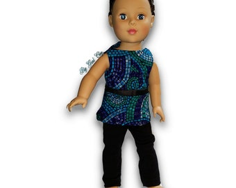 """Blue and Green stones print Top & Leggings Outfit 18"""" Doll Clothes [41919D]"""