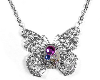 Steampunk Jewelry Necklace Vintage Watch Victorian Silver Filigree BUTTERFLY Pink Lilac Crystal Mothers Mom - Jewelry by Steampunk Boutique