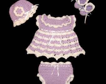 Purple Crochet Baby Dress Set Newborn Baby Girl Layette Set Preemie Baby Dress Lavender Baby Dress Baby Girl Knit Dress  Baby Girl Outfit
