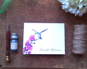Hummingbird with Orchid Personalized Folded Notes - Set of 10