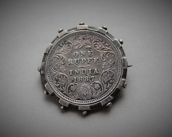 1887 Indian Rupee Queen Victorian Jubilee Coin Brooch / Antique Sterling Coin Brooch / British Raj