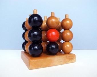Vintage Design 3D Tic Tac Toe / Wooden Toy / 3 x 3