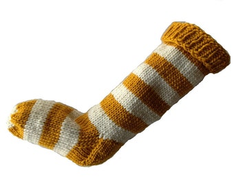 Hand Knit Christmas Stocking Hand Knit Yellow and Natural White Striped Santa Sock