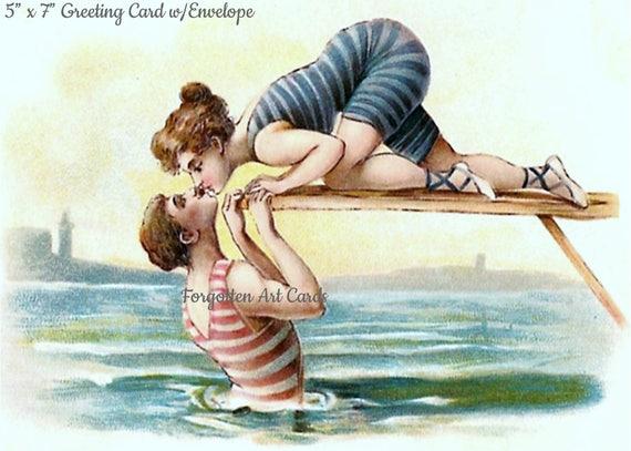 "The Kiss, 5""x7"" Greeting Card, + Envelope, Woman, Man, Diving Board, Ocean, Sea, Kiss, Swim, Forgotten Art Card, Pretty Girl Postcards"