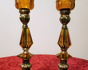 Hollywood Regency Amber Lucite and Brass Candle Holders