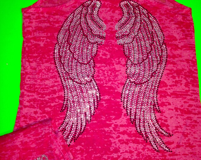 Hot Pink Angel wings Believe rhinestone Tank Top. Workout Shirts. Fitness Shirts. Weightlifting , Exercise, Gym, Yoga, motivational shirt.