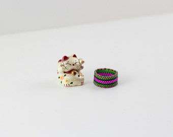 Watermelon Ring | Peyote Stitch Beaded Ring | Delica Bead Pink and Green Ring