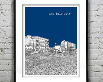 Sea Isle City New Jersey Shore Poster Print Art NJ Skyline Jersey Shore Version 7