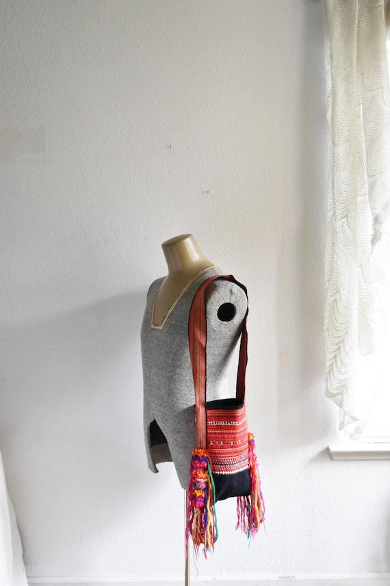 boho tribal hmong asian shoulder bag / purse