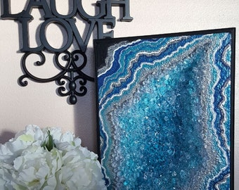 Blue Wave 3D Geode Table Art